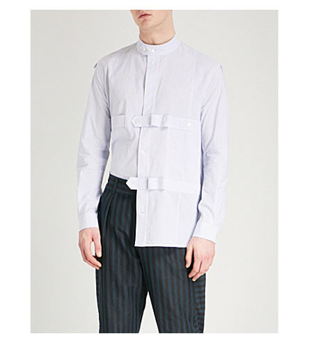 DAMIR DOMA Strapped regular-fit cotton shirt (White+azure