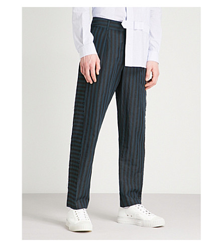 DAMIR DOMA Striped regular-fit straight cotton-blend trousers (Indigo+coal