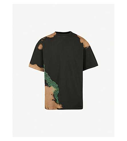 DAMIR DOMA Geometric-embroidered cotton-jersey T-shirt (Coal+tabacco