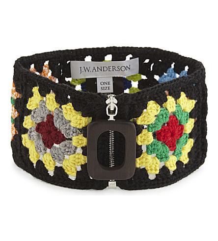 JW ANDERSON Crocheted wool-blend neckband (Black+multi