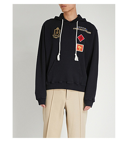 JW ANDERSON Multi patch-embroidered cotton-jersey hoody (Navy