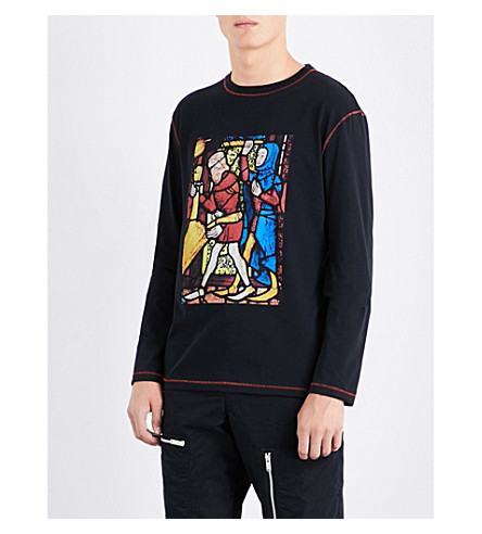 JW ANDERSON Stain glass-print cotton-jersey T-shirt (Black