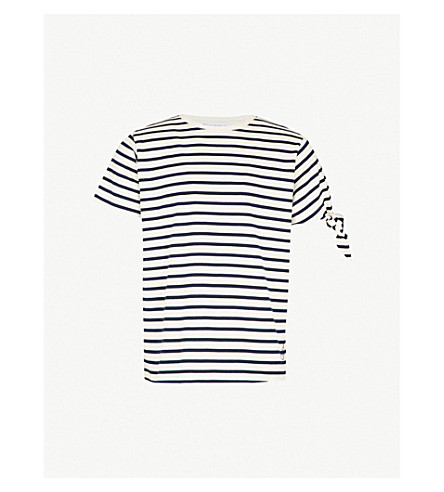JW ANDERSON Knotted striped cotton-jersey T-shirt (Off white