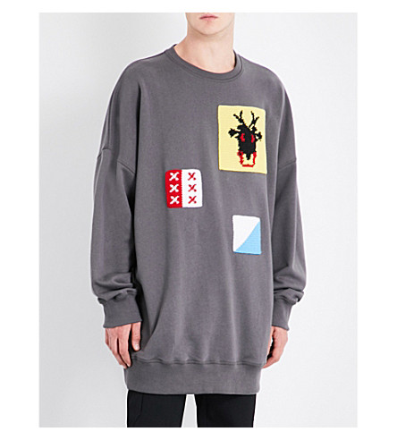 JW ANDERSON Crotchet patch-detailed cotton-jersey sweatshirt (Anthracite