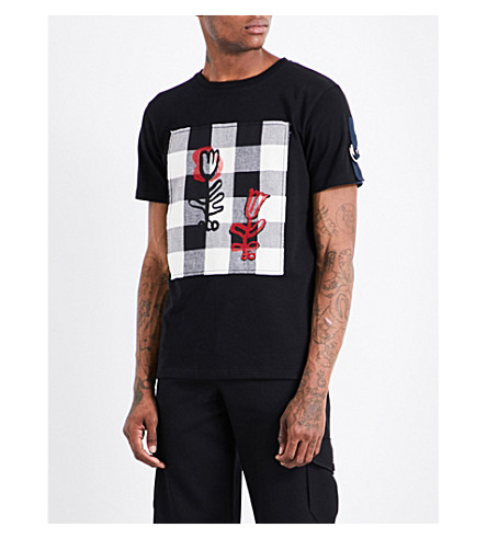 JW ANDERSON Doodle patch cotton-jersey T-shirt (Black