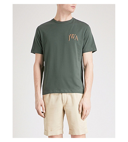 JW ANDERSON Logo-embroidered cotton-jersey T-shirt (Military+green