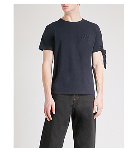 JW ANDERSON Knot-sleeve cotton-jersey T-shirt (Navy