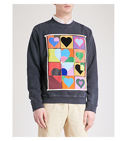 JW ANDERSON Hearts Grid cotton-jersey sweatshirt (Navy