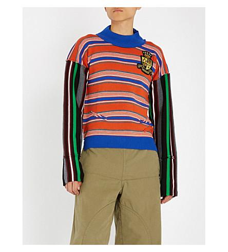 JW ANDERSON Deconstructed striped wool jumper (Burnt+orange