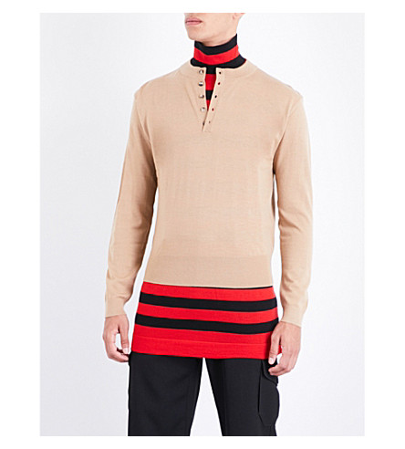 JW ANDERSON Double-layer striped turtleneck wool jumper (Camel