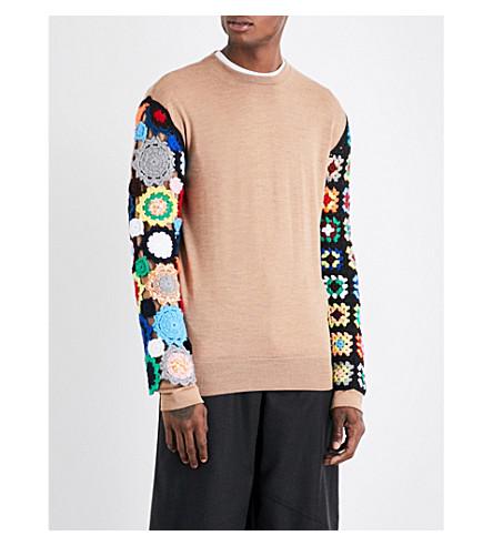 JW ANDERSON Crochet-sleeved wool jumper (Camel