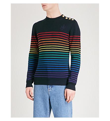 JW ANDERSON Striped wool jumper (Navy+multi
