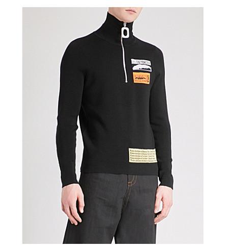 JW ANDERSON Patch-embroidered turtleneck wool-blend jumper (Black