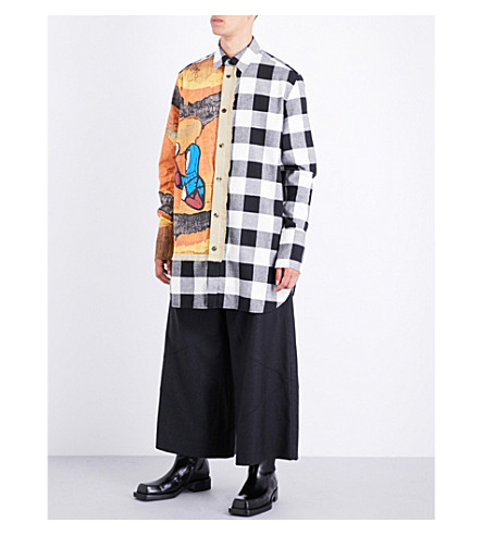 JW ANDERSON Tapestry and checked regular-fit wool shirt (White