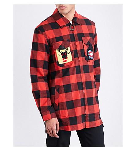 JW ANDERSON Lumberjack-patch flannel shirt (Brick