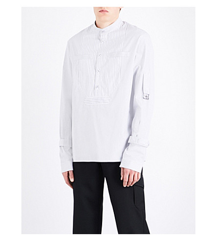 JW ANDERSON Buckle-detail striped cotton shirt (Black