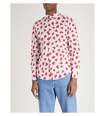 JW ANDERSON Heart-print striped regular-fit cotton-poplin shirt (Scarlett