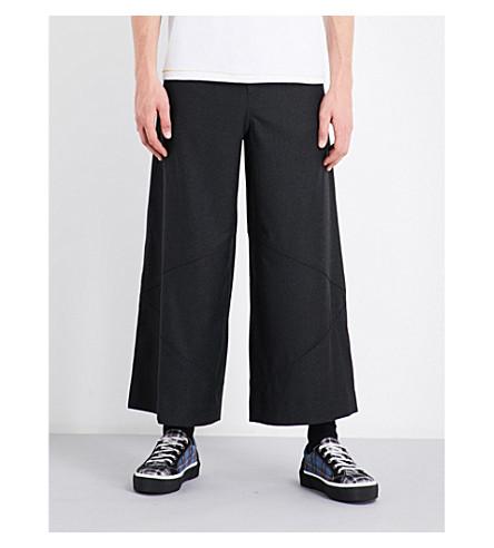 JW ANDERSON Wide cropped mid-rise wool trousers (Dk+grey+melange