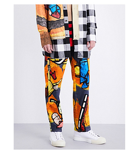 JW ANDERSON Tapestry-pattern tapered regular-fit jeans (Tangerine