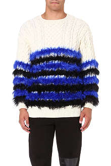 SIBLING Fluffy striped jumper