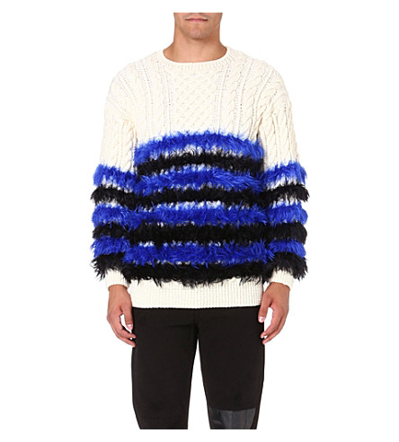 SIBLING Fluffy striped jumper (Ivory