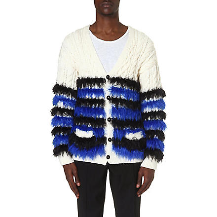 SIBLING Fluffy striped cardigan (Ivory