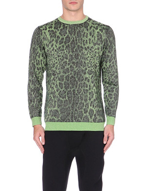 SIBLING Metallic-knit leopard-patterned jumper