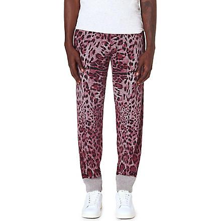 SIBLING Leopard print jogging bottoms (Burgandy