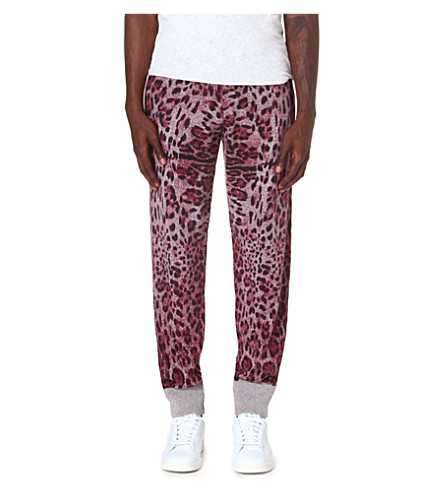 SIBLING Leopard print jogging bottoms (Burgandy