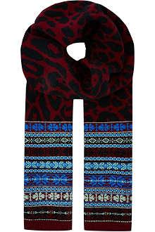 SIBLING Leopard Fair Isle scarf