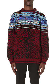 SIBLING Fair Isle leopard jumper