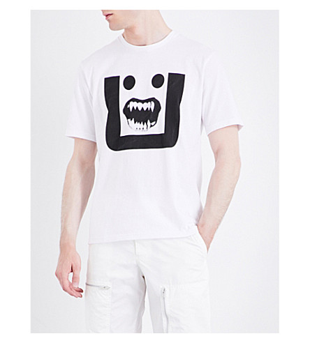 UNDERCOVER Face-print cotton-jersey T-shirt (White