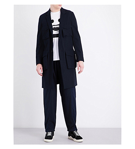 UNDERCOVER Pocket-detail cotton-blend coat (Navy