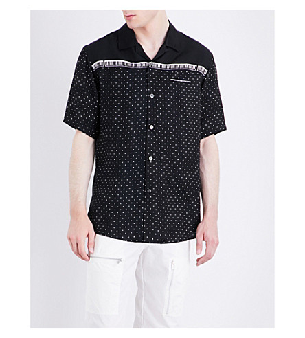 UNDERCOVER Polka dot and piano-print satin shirt (Black+base