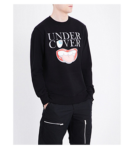 UNDERCOVER Logo and lip-print cotton-jersey sweatshirt (Black