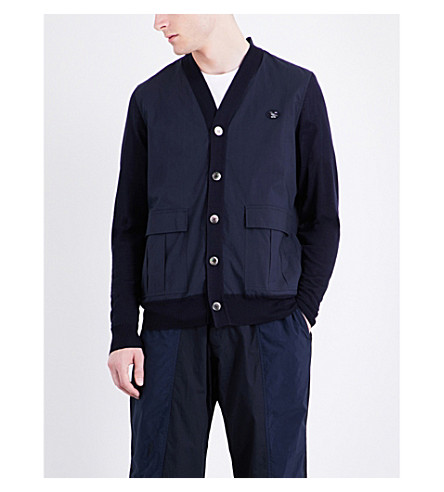 UNDERCOVER Contrast-panel cotton and wool cardigan (Navy