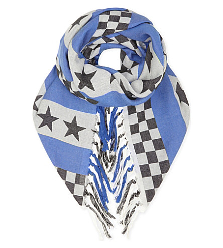 UNDERCOVER Printed cotton scarf (Blue