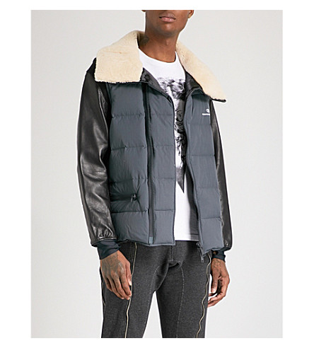 UNDERCOVER Shearling-collar shell-down and leather jacket (Dark+grey