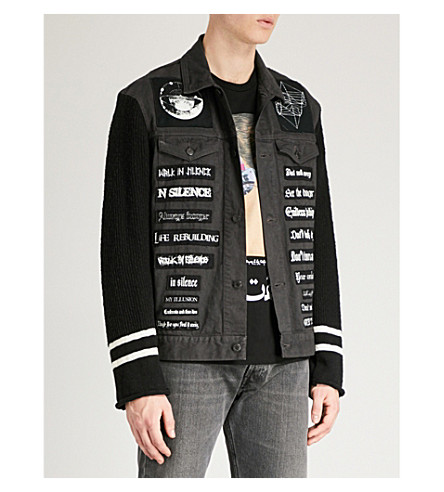 UNDERCOVER Atmosphere lyric-appliqué denim jacket (Charcoal