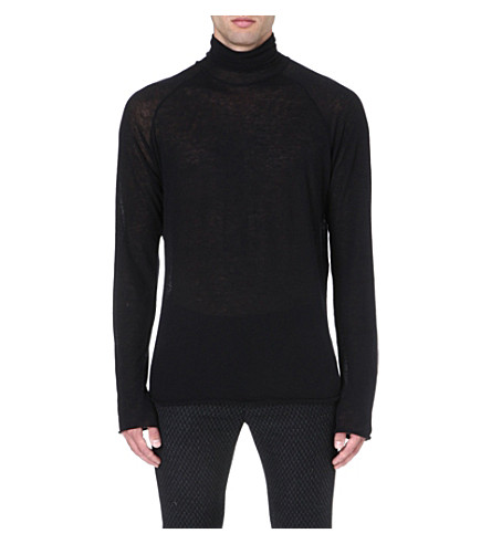 HAIDER ACKERMANN Semi-sheer knitted top (Black