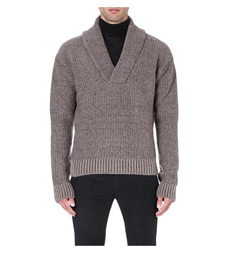 HAIDER ACKERMANN Shawl-collar knitted jumper (Taupe