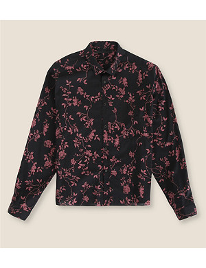 HAIDER ACKERMANN Slim-fit floral cropped cotton shirt