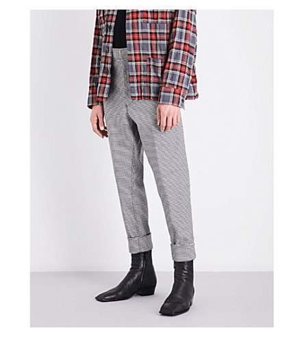 HAIDER ACKERMANN Houndstooth regular-fit stretch-wool trousers (Blk+wht