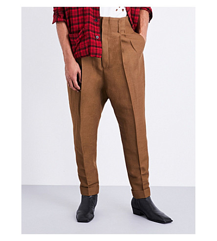 HAIDER ACKERMANN Tapered dropped-crotch fleece-wool trousers (Khaki