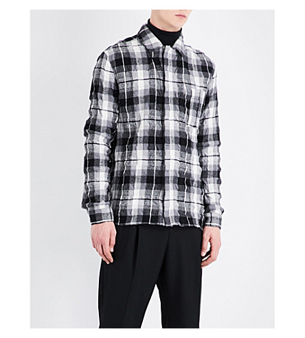 HAIDER ACKERMANN Checked creased regular-fit brushed-cotton shirt (Blk+wht