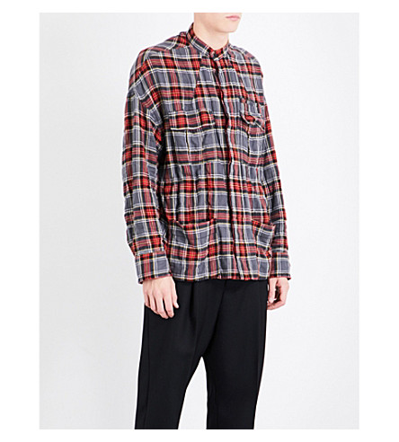 HAIDER ACKERMANN Checked regular-fit brushed cotton-blend shirt (Red