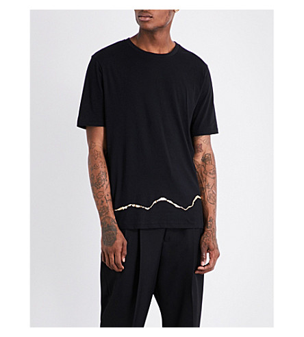 HAIDER ACKERMANN Gold Squiggle cotton T-shirt (Black
