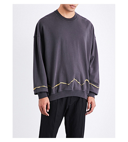 HAIDER ACKERMANN Metallic-embroidered cotton-jersey sweatshirt (Anthracite