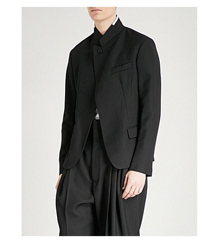 HAIDER ACKERMANN Slim-fit fleece-wool blazer (Black