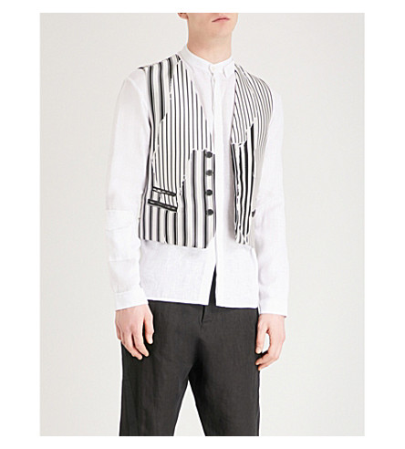 HAIDER ACKERMANN Striped silk-blend waistcoat (Black+white